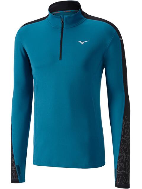Mizuno Vortex Warmalite - T-shirt manches longues running Homme - Bleu pétrole